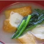 ごぼ天と小松菜味噌汁