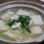 豆腐とカニのみそ葛煮